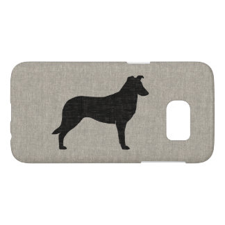 Smooth Collie Silhouette Faux Linen Style