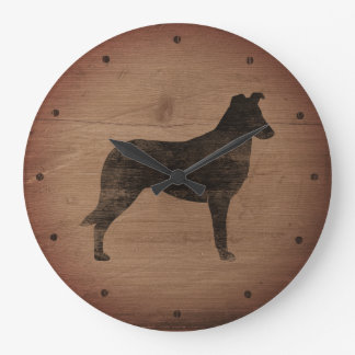 Smooth Collie Silhouette Rustic Style Large Clock