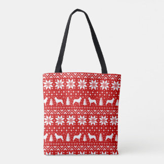 Smooth Collie Silhouettes Christmas Pattern Red Tote Bag