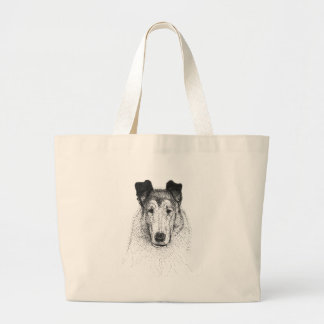 Smooth Collie totebag Large Tote Bag