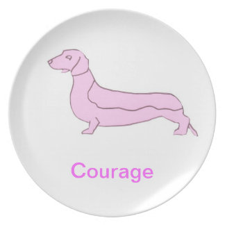 Smooth Dachshund Courage Cancer Awareness Plate