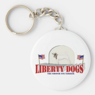 Smooth Fox Terrier Basic Round Button Key Ring