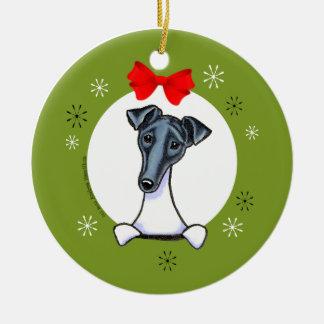 Smooth Fox Terrier Black White Christmas Classic Round Ceramic Decoration