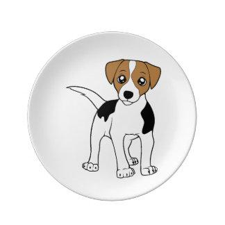 smooth fox terrier cartoon porcelain plate