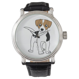 smooth fox terrier cartoon wristwatch