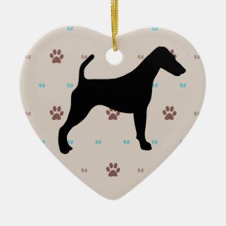 Smooth Fox Terrier Ceramic Heart Decoration