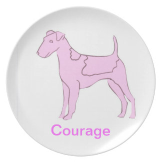Smooth Fox Terrier Courage Cancer Awareness Plate