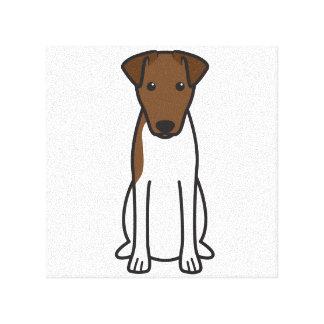 Smooth Fox Terrier Dog Cartoon Stretched Canvas Prints