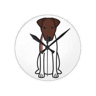 Smooth Fox Terrier Dog Cartoon Round Wall Clock