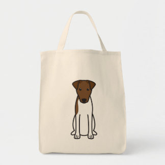 Smooth Fox Terrier Dog Cartoon Grocery Tote Bag