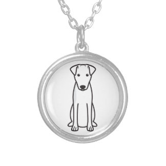 Smooth Fox Terrier Dog Cartoon Round Pendant Necklace