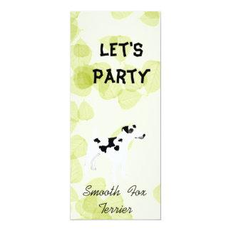"Smooth  Fox Terrier ~ Green Leaves Design 4"" X 9.25"" Invitation Card"