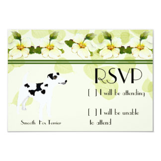 "Smooth  Fox Terrier ~ Green Leaves Design 3.5"" X 5"" Invitation Card"