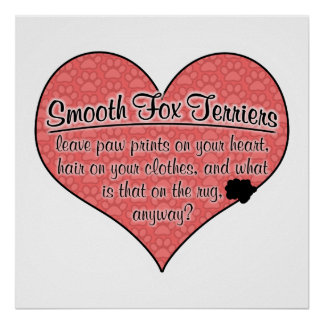 Smooth Fox Terrier Paw Prints Dog Humor Poster