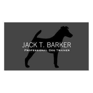 Smooth Fox Terrier Silhouette Black on Grey Business Cards