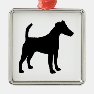 Smooth Fox Terrier silhouette Silver-Colored Square Decoration