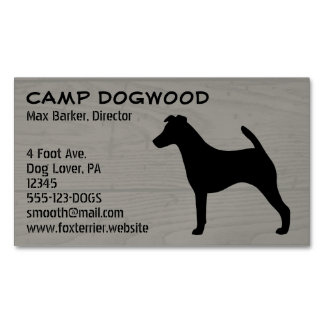 Smooth Fox Terrier Silhouette Wood Style Magnetic Business Cards