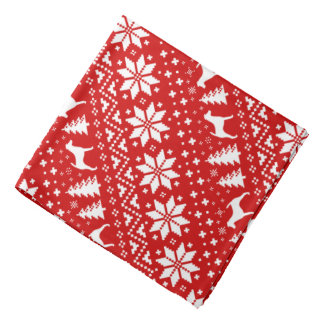 Smooth Fox Terrier Silhouettes Christmas Pattern Bandana