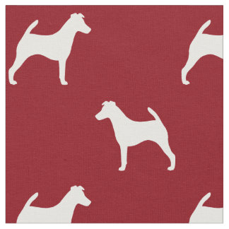 Smooth Fox Terrier Silhouettes Pattern Red Fabric