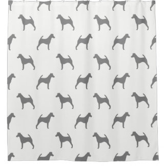 Smooth Fox Terrier Silhouettes Pattern Shower Curtain