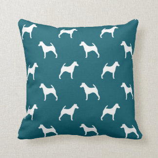 Smooth Fox Terrier Silhouettes Pattern Throw Cushions