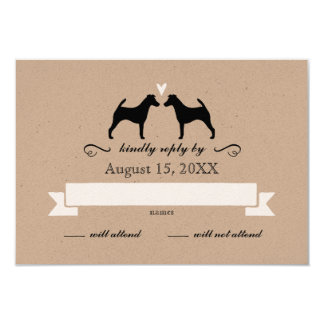 Smooth Fox Terrier Silhouettes Wedding RSVP Reply 9 Cm X 13 Cm Invitation Card