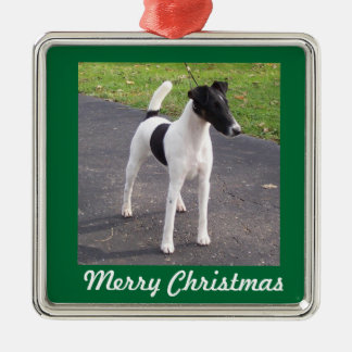 Smooth Fox Terrier square ornament
