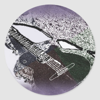 Smooth Jazz Guitar Round Sticker