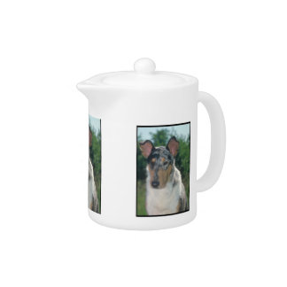 Smooth Merle Collie Teapot