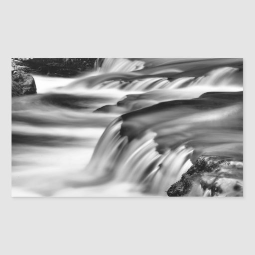 Smooth Monochrome Waterfall Rectangle Stickers