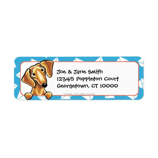 Smooth Red Dachshund Blue Sailboats Return Address Label