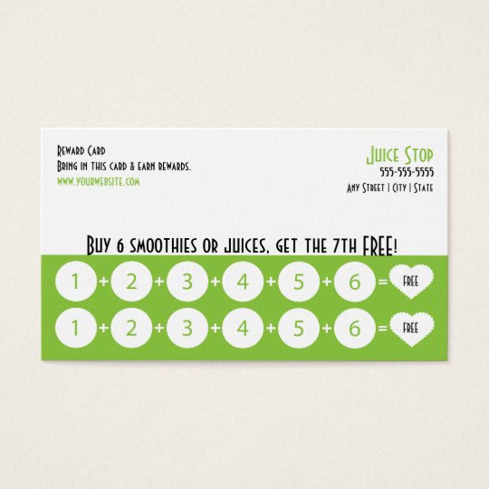 Smoothie Amp Juice Bar Business Card Loyalty Card Zazzle