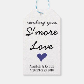 S'more Love Blue Heart Wedding Gift Tags
