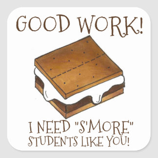 S'more Students Teacher Reward Campfire Smores Square Sticker