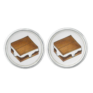 S'mores Toasted Marshmallow Campfire Smore Foodie Cufflinks