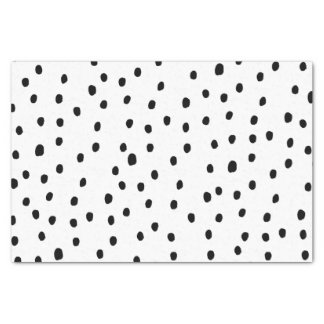 Smple black handdrawn modern polka dots tissue paper