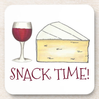 Snack Time! Red Wine Glass Brie Cheese Foodie Gift Coaster