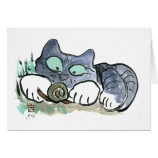 Snail and Kitten - Sumi-e Card