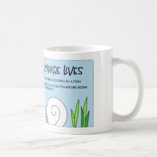 Snail and worm compare lives coffee mug