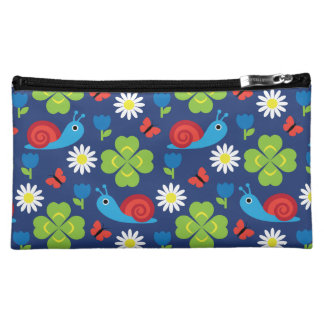 Snail & Clover Seamless Pattern Cosmetic Bag