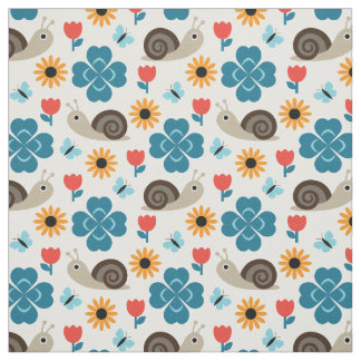 Snail & Clover Seamless Pattern Fabric