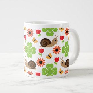 Snail & Clover Seamless Pattern Large Coffee Mug