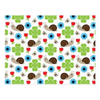 Snail & Clover Seamless Pattern Postcard