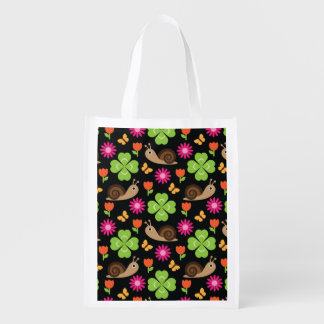 Snail & Clover Seamless Pattern Reusable Grocery Bag