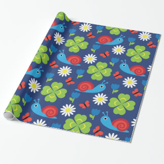 Snail & Clover Seamless Pattern Wrapping Paper