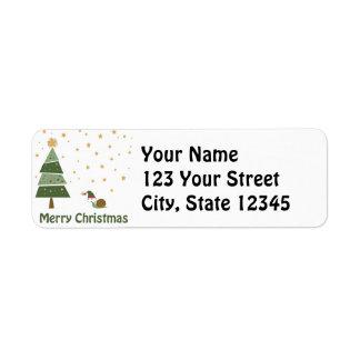 Snail Elf Christmas Scene Return Address Label