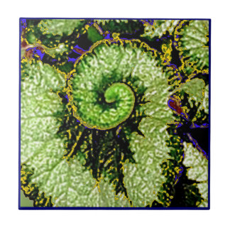 Snail Escargot Begonia Leaf by Sharles Small Square Tile