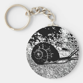 Snail in Black and White Key Ring