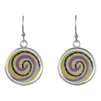 Snail Shell Spiral Mosaic Cust. Earrings