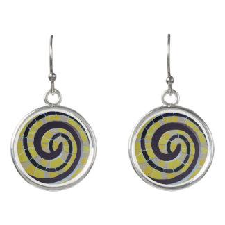Snail Shell Spiral Mosaic Earrings